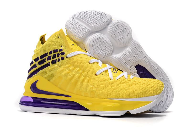 Nike Lebron James 17 Air Cushion Shoes Fluorescent Yellow Purple