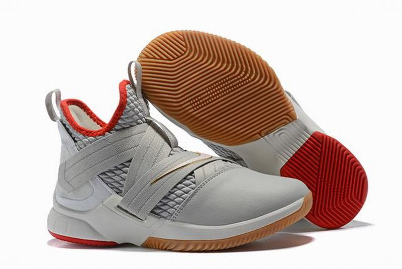 Nike Lebron James Soldier 12 Shoes Grey Red Gold